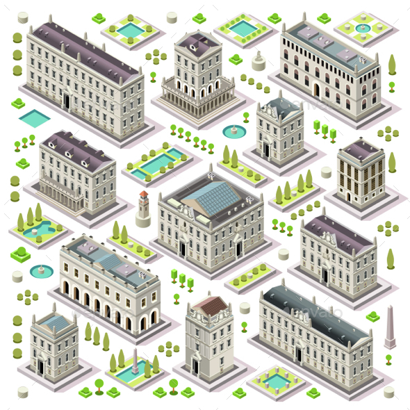 City Map Set 06 Tiles Isometric - Buildings Objects