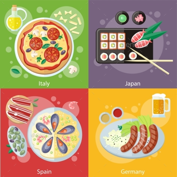 Italy, Japan, Spain and Germany Food - Food Objects
