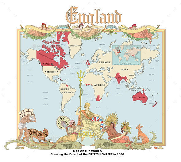 Map of British Empire in Nineteenth Century - Travel Conceptual