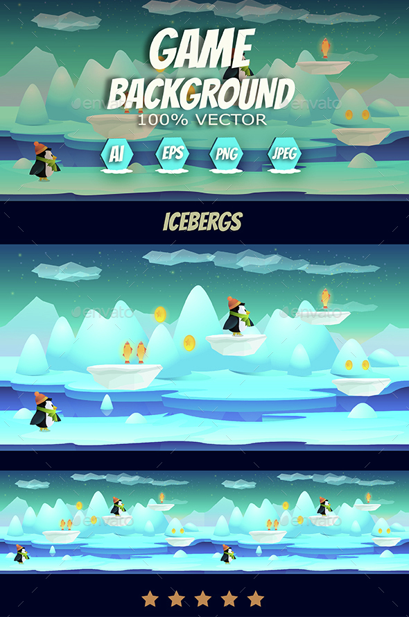 Icebergs Game Background - Backgrounds Game Assets