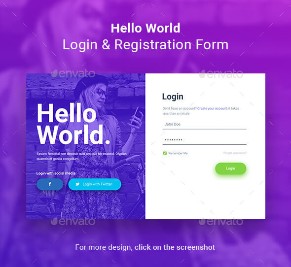 Hello World Login & Registration Form - Forms Web Elements