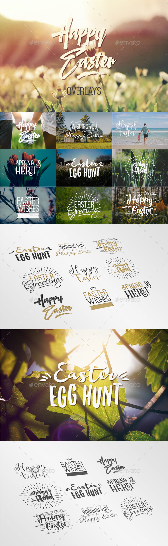 Easter Overlays & Lettering - Badges & Stickers Web Elements