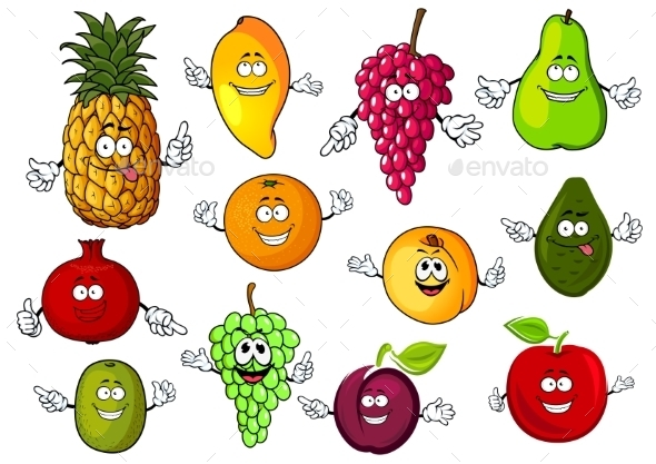 Happy Cartoon Fresh Tropical Fruits - Food Objects