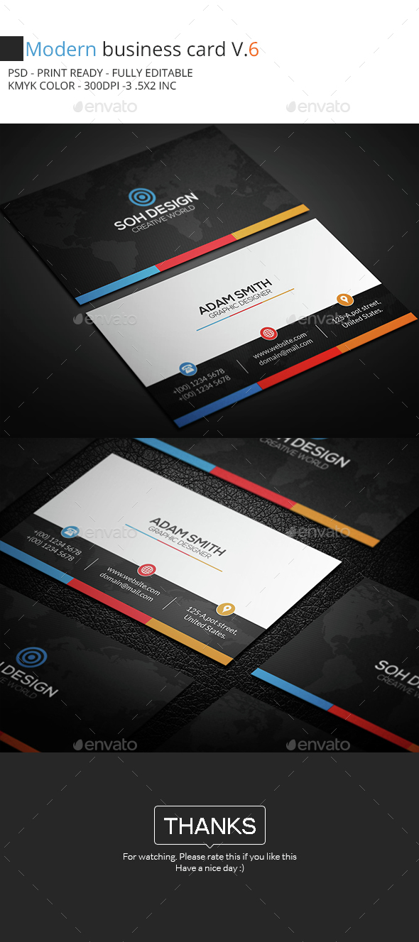 Modern Business Card V.6 - Business Cards Print Templates