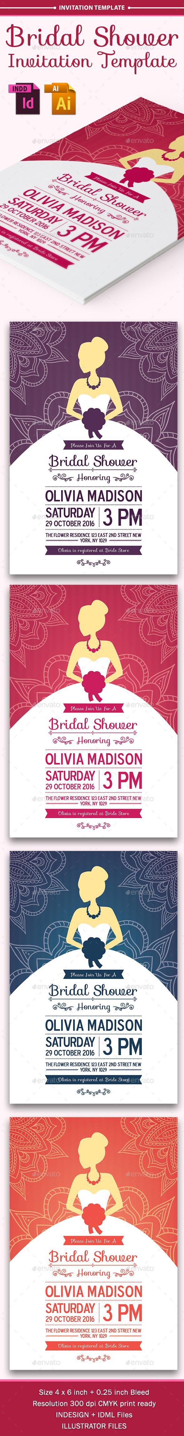 Bridal Shower Invitation Template - Cards & Invites Print Templates