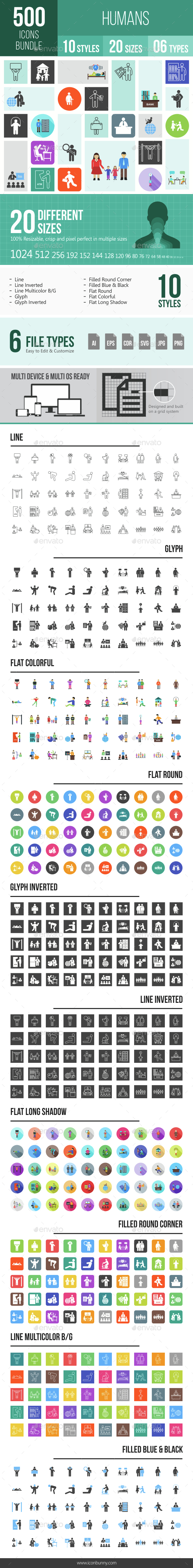 500 Humans Icons Bundle - Icons