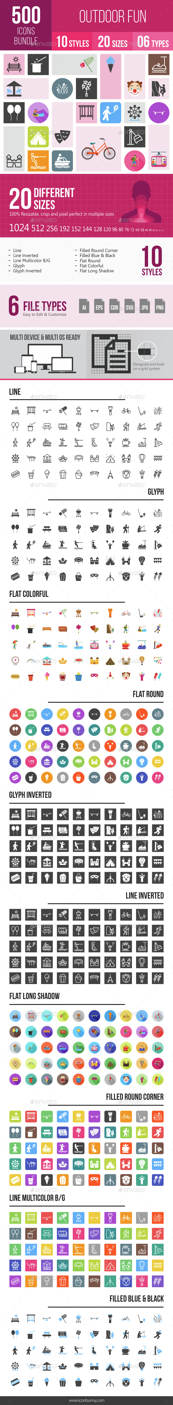 500 Outdoor Fun Icons Bundle - Icons