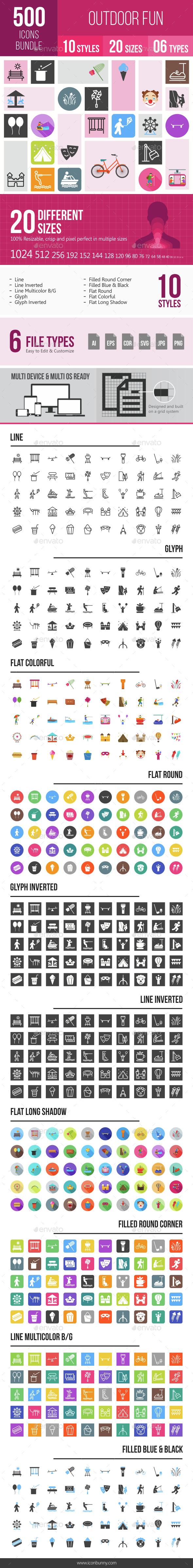 500 Outdoor Fun Icons Bundle - Icons