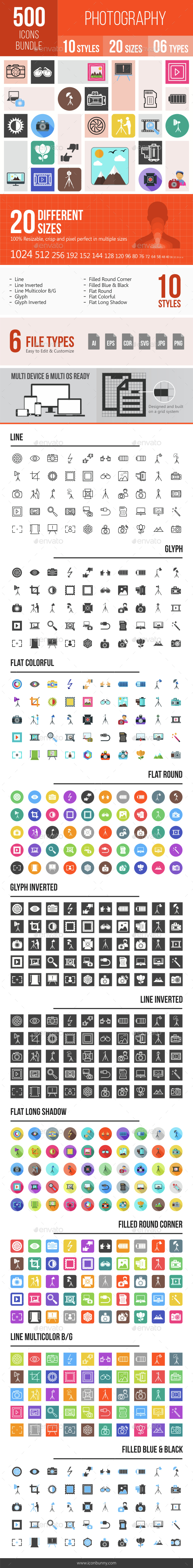 500 Photography Icons Bundle - Icons