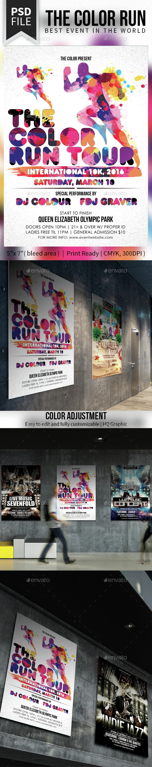 The Color Run Tour - Events Flyers