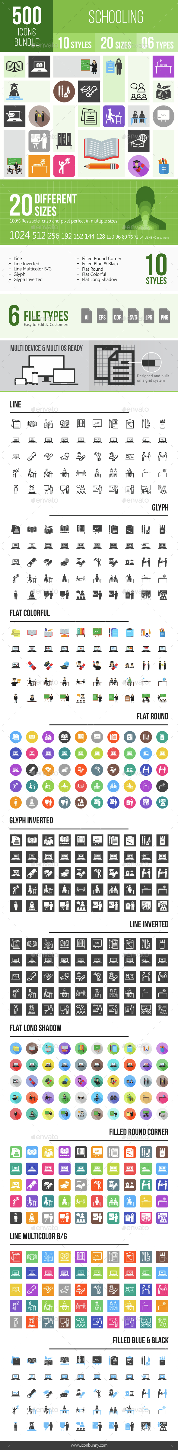 500 Schooling Icons Bundle - Icons