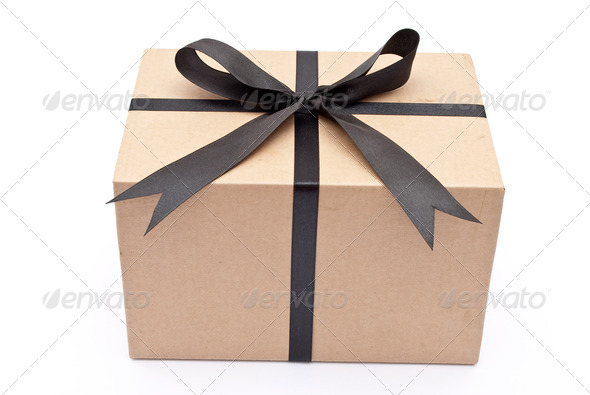 Box with black bow - Stock Photo - Images