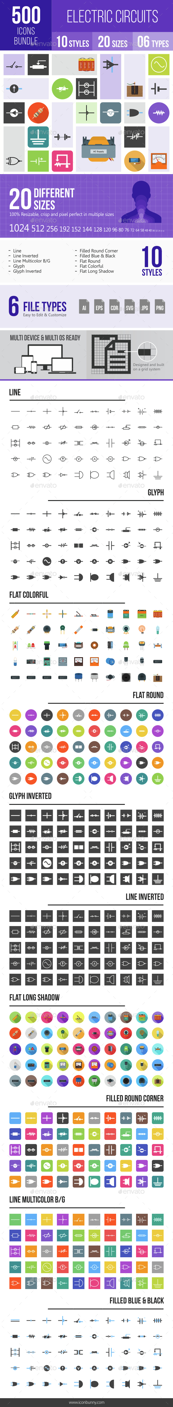 500 Electric Circuits Icons Bundle - Icons
