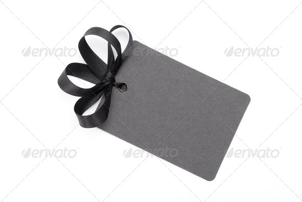 Black gift tag - Stock Photo - Images