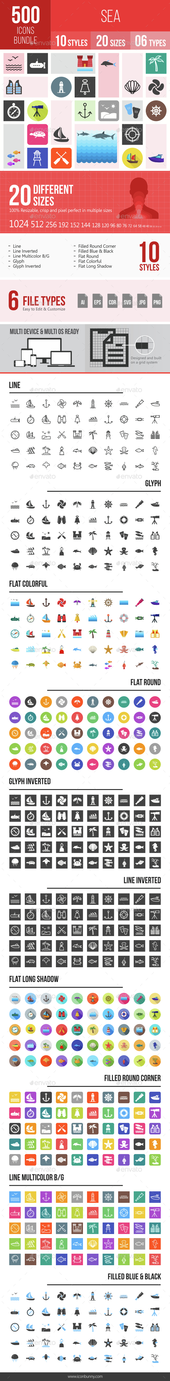 500 Sea Icons Bundle - Icons