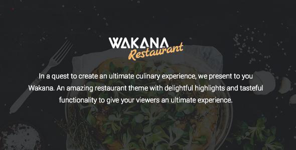 Wakana - A Delightful Restaurant Theme