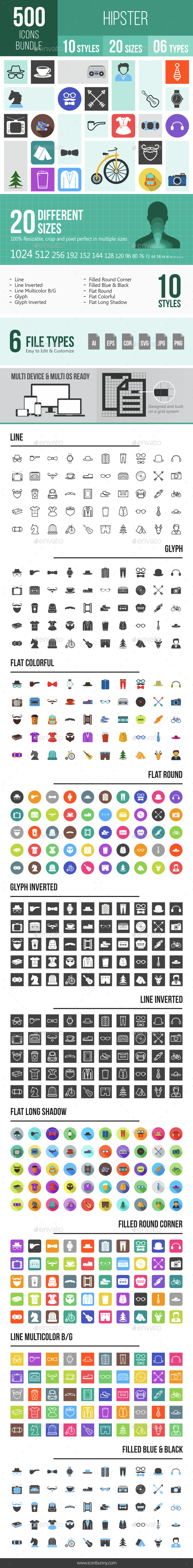 500 Hipster Icons Bundle - Icons