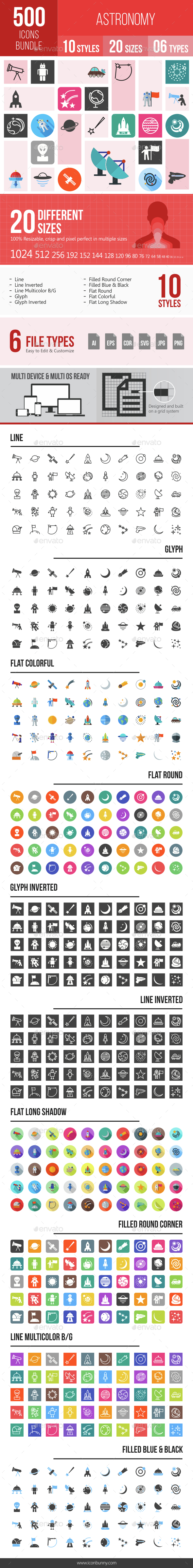 500 Astronomy Icons Bundle - Icons