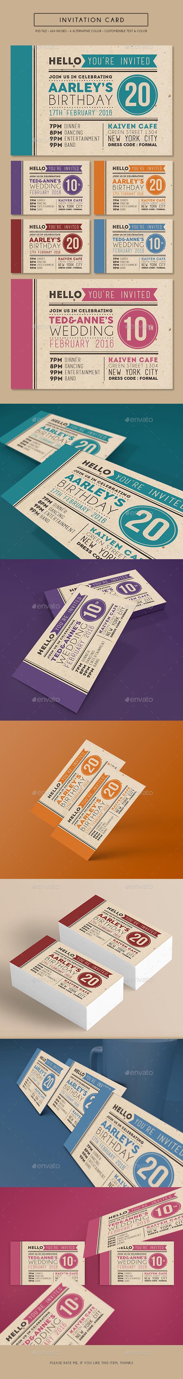 Colorfull Invitation Card - Invitations Cards & Invites