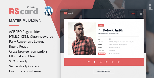 Versatile Resume / CV WordPress Theme
