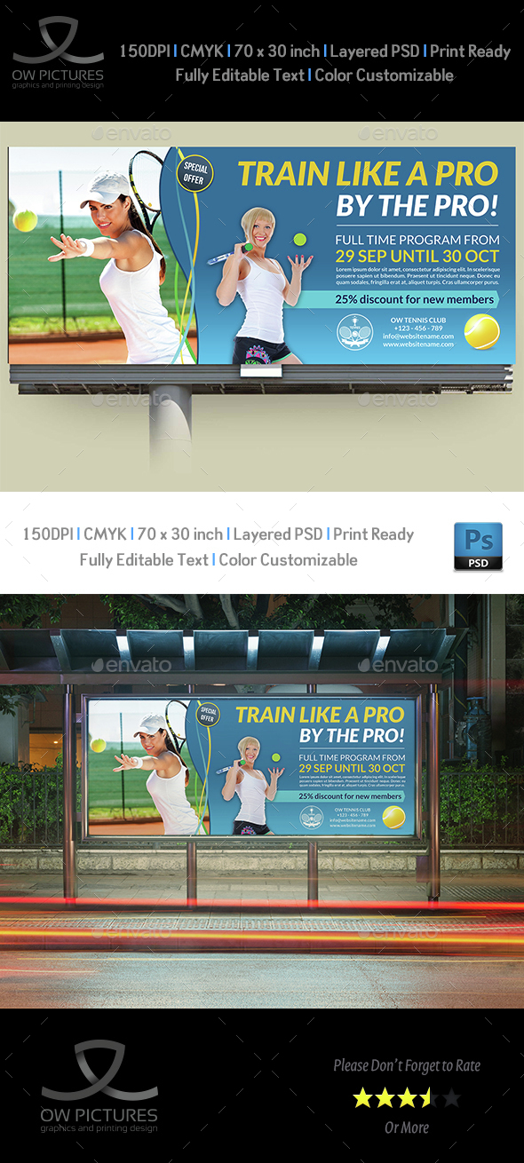 Tennis Training Billboard Template - Signage Print Templates