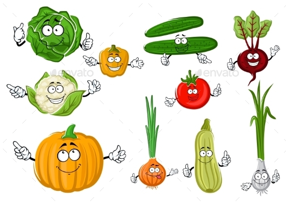Fresh and Tasty Cartoon Farm Vegetables - Food Objects