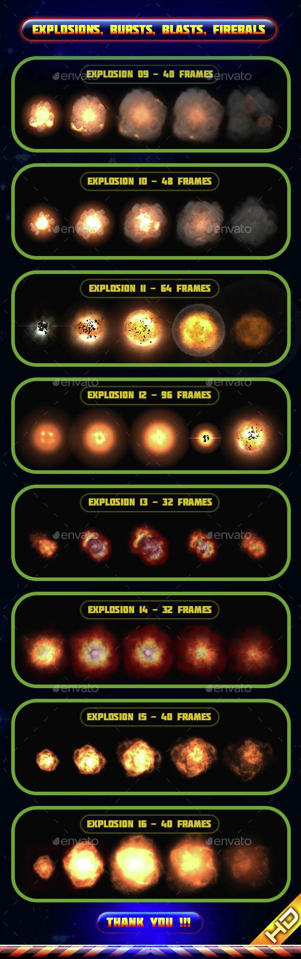 Explosions Blasts Bursts Detonations Fireballs 02 - Sprites Game Assets