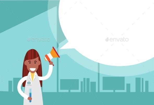 Medical Doctor Woman Holds Megaphone Loudspeaker - Health/Medicine Conceptual