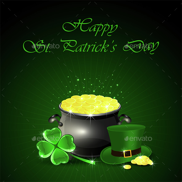 Patricks Day Background with Pot and Gold - Miscellaneous Seasons/Holidays