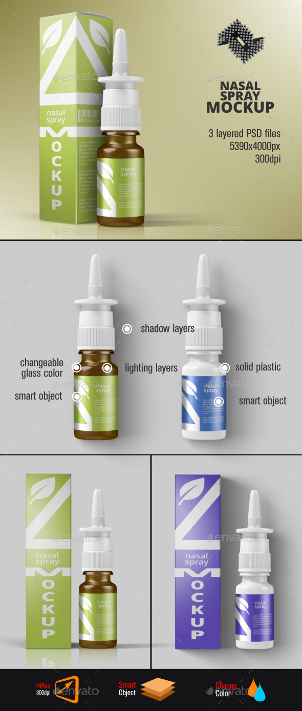 Nasal Spray Packaging Mockup - Packaging Product Mock-Ups