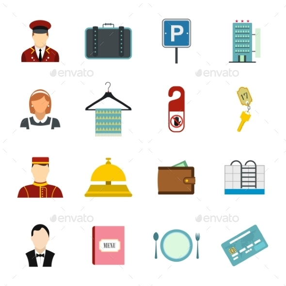 Hotel Flat Icons Set - Miscellaneous Icons