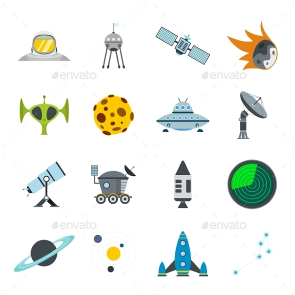 Space Flat Icons Set - Miscellaneous Icons