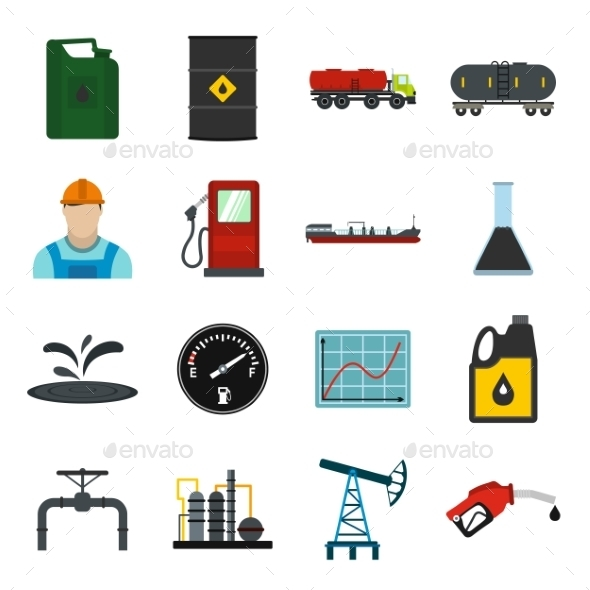 Oil Industry Flat Icons Set - Miscellaneous Icons