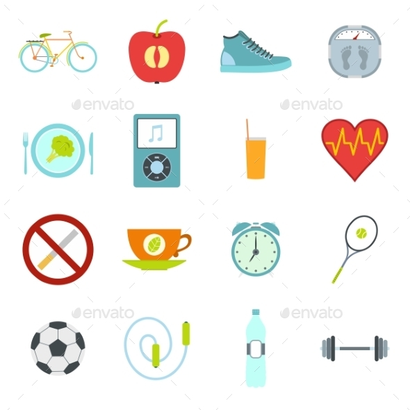 Healthy Life Style Flat Set - Miscellaneous Icons