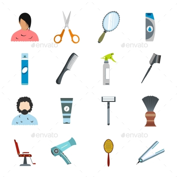 Hairdressing Flat Icons Set - Miscellaneous Icons