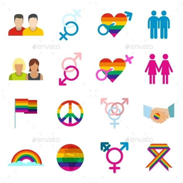 Gays Flat Icons Set - Miscellaneous Icons