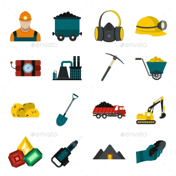 Mining Icons Flat Set  - Miscellaneous Icons