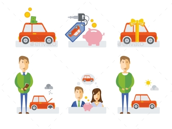 Elements Showing Process of Getting a Car - Miscellaneous Vectors