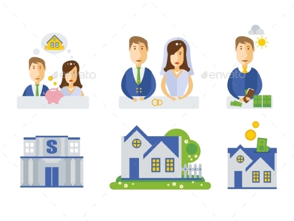 Elements Showing Process of Getting a Home - Miscellaneous Vectors