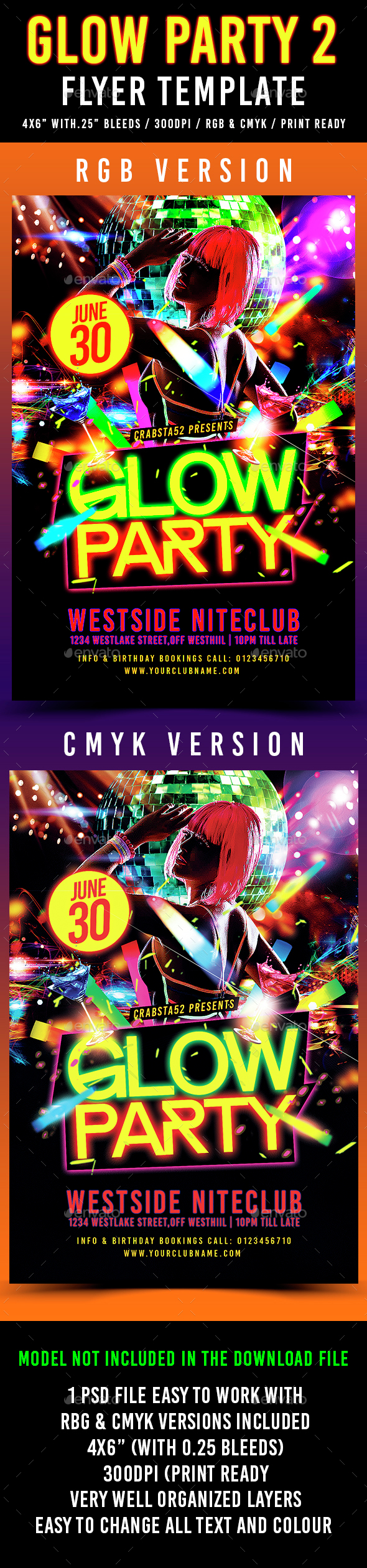 Glow Party Flyer Template 2 - Flyers Print Templates