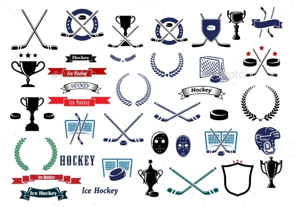 Ice Hockey Sport Game Icons and Elements - Sports/Activity Conceptual