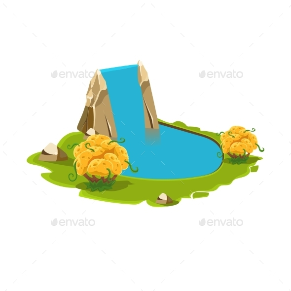 Island With a Lake and Waterfall - Landscapes Nature