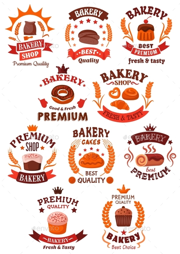 Premium Bakery and Pastry Shop Symbols - Food Objects