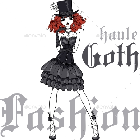 Goth Girl in Black Dress and Silk Hat - People Characters