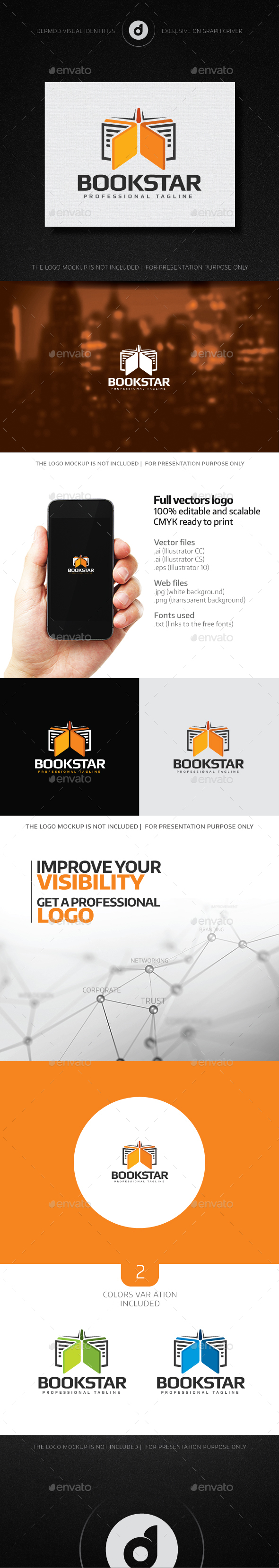 BookStar Logo - Objects Logo Templates