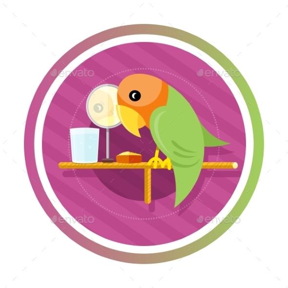 Orange Green Parro - Animals Characters