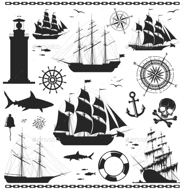Set of Nautical Design Elements - Miscellaneous Vectors