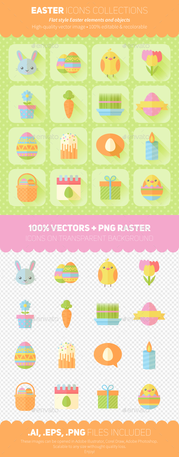 Easter Icons Flat Style Set - Miscellaneous Seasons/Holidays
