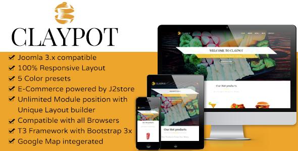 Claypot - Responsive Joomla eCommerce Restaurant Template - Food Retail