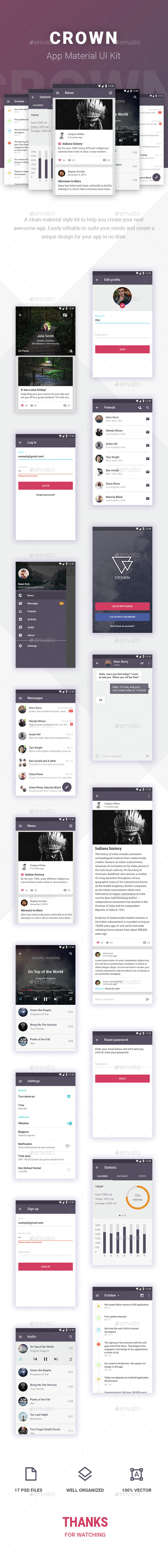 Crown Android Material UI Kit - User Interfaces Web Elements